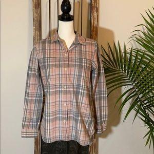 Madewell Pink and Grey Plaid Shirt